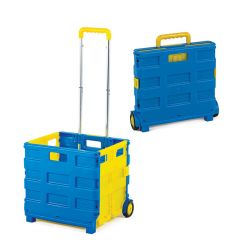 Blue and yellow folding box truck with 25kg capacity