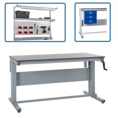 Heavy Duty Manual Height Adjustable Workbenches - available with accessories
