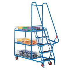 Heavy Duty 5 Step Tray Trolleys - Basket Trays