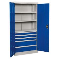 Sealey Industrial Cabinet - 5 Drawers, 3 Shelves, H1800mm