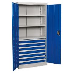 Sealey Industrial Cabinet - 7 Drawers, 3 Shelves, H1800mm