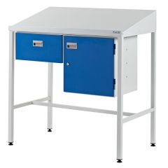 Team Leader Workstation with Sloping Top, Single Drawer and Cupboard