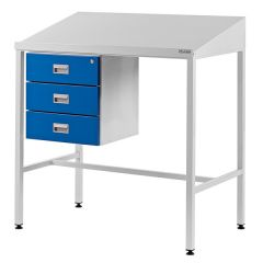 Team Leader Workstation with Sloping Top and Triple Drawer