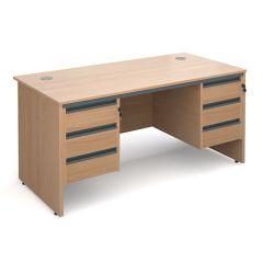 Atlanta Panel End Double Pedestal Desk - 2x3 Drawers - W1532 - Beech