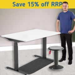 Modulus Height Adjustable Desk Kit - Motion Up Stool - Black Frame