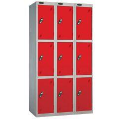 Probe Three Door Nest of 3 Locker - Red Doors