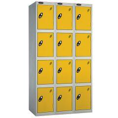 Probe Four Door Nest of 3 Locker - Yellow Doors
