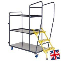 UK Manufactured - 3 Shelf Order Picking Trolley
