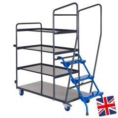 UK Manufactured - 4 Shelf Picking Trolley