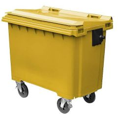 Poly Large Wheeled Container - Hazardous Yellow