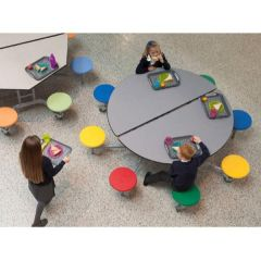 8 Seat Round Mobile Folding Table - Multi-coloured Seats