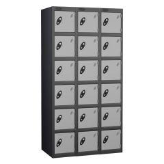 Probe Six Door Lockers - 3 Nest - Black Carcass - Silver Door