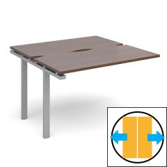 Soho Back to Back Sliding Top Add On Desk  - D1200 x W1200 - Silver Frame - Walnut