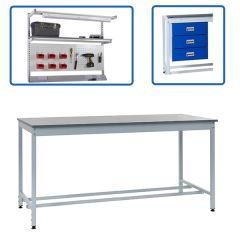 Square Tube Height Settable Workbenches - accessory options