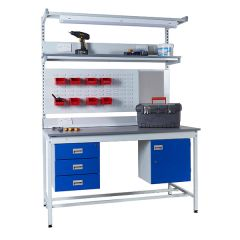 Square Tube Industrial Workbench displayed with above & below bench accessories