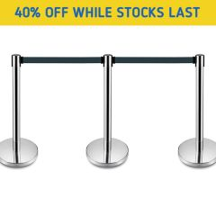 Stainless Steel Post Belt Barriers - 3 Day Delivery - Special Offer