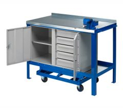 Mobile Workbench with steel worktop showing open doors