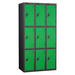 Probe Three Door Locker - 3 Nest - Black Carcass - Green Door