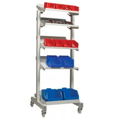 Tilting Shelf Trolley shown with small parts storage bins (sold separately)