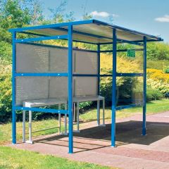 Traditional Smoking Shelters - 2 Perspex Sides & Steel Back Panel