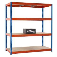 TUFF Longspan Shelving 450kg - Blue & Orange