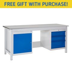 TUFF Heavy Duty Storage Laminate Workbench - 3 Drawers & Single Cupboard - Free Gift