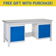 TUFF Heavy Duty Storage Laminate Workbench - 2 Cupboards - Free Gift with purchase