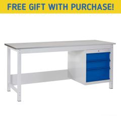 TUFF Heavy Duty Storage Laminate Workbench - 3 Drawers - free gift in purchase