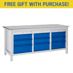 TUFF Heavy Duty Storage Laminate Workbench - 9 Drawers - FREE Gift