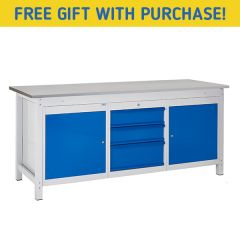 TUFF Heavy Duty Storage Laminate Workbench - 2 Cupboards & 3 Drawers - Free Gift with buy