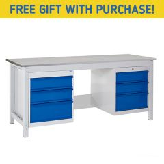 TUFF Heavy Duty Storage Laminate Workbench - 6 Drawers - Free Gift with purchase