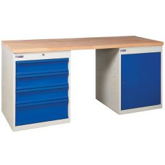 TUFF Pedestal Bench - 1 Cupboard, 4 Drawers