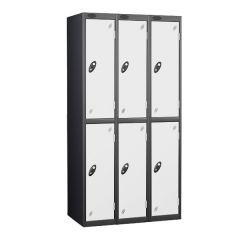 Probe Two Door Locker - 3 Nest - Black Carcass - White Door