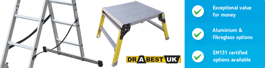 Drabest aluminium and fibreglass ladders, steps and more