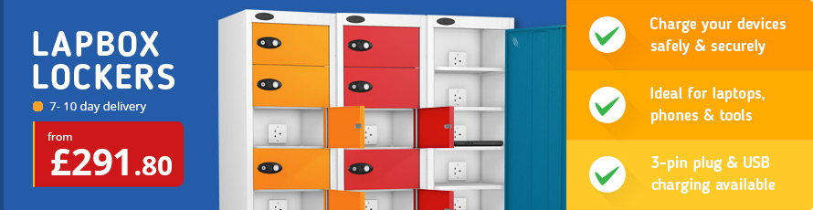 Laptop lockers for securely charging devices