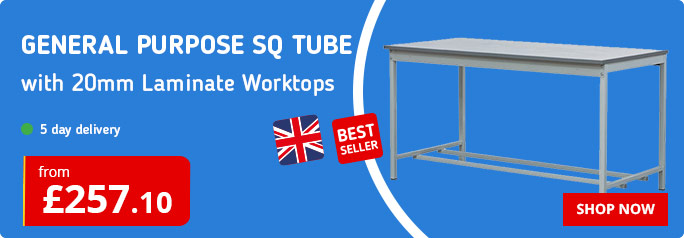 Shop our General Purpose Workbenches with Square Tube Frameworks
