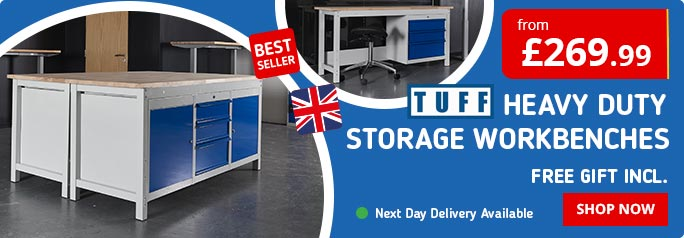 Shop our best selling TUFF Heavy Duty Workbenches with Storage