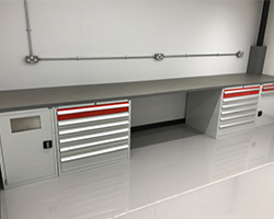 workbench and cabinets installation by Workplace Products